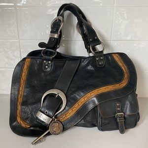 Christian Dior leather Goucho bag with flap